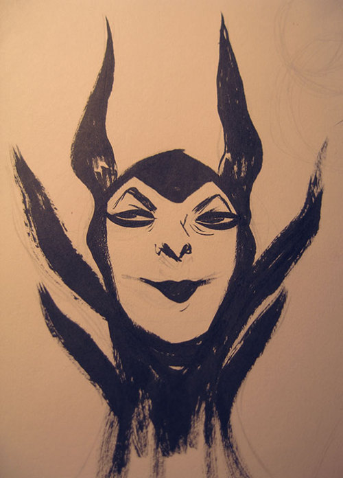 Maleficent brush doodle from quite a while ago but finally topical and fresh.