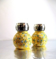 Yellow Orbit salt and Pepper Shaker set Yellow by PearlesPainting via [Enzie Shahmiri Designs]