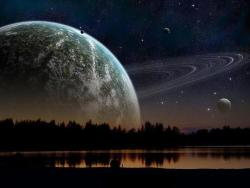 "watermelon-blueraspberry:  ""If Saturn and the moon were the same distance from Earth, this is what our night-sky would look like."" I don't know if I am amazed by how beautiful it looks… Or scared to realize how small we really are…"
