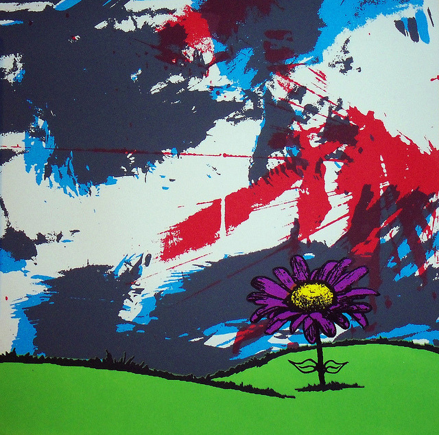 lucidfocus:   Daisy Borealis on Flickr. 12x12 Silkscreen influenced by music.