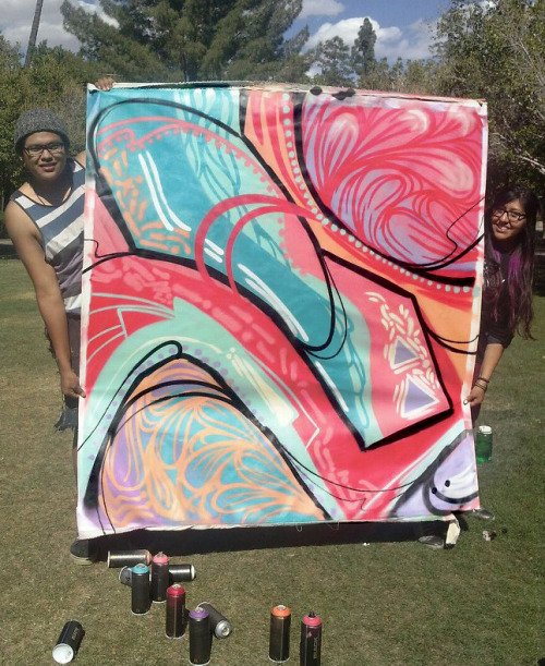 experiment:amoebacrush Painted earlier at ASU Up for anyone who wants it. Bid starting at $45.  Its a huge piece, primed canvas fabric painted with mtn. Serious inquiries only catch the bidding @ www.facebook.com/greyeyesart