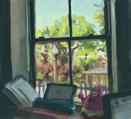 Indoor painting practice, had to be quick this time because was rushing to get lunch. Tried to focus on cool/warm distinction between interior/exterior and push saturation of colors outside.   Also can you spot the Nickelodeon swag on my windowsill? hint, there are two things.