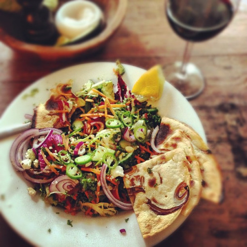 veganfoodforyoureyes:  Farinata & fattoush (a little inspired by links from @foodtravelco & @davidlebovitz today). by monica.shaw on Flickr.