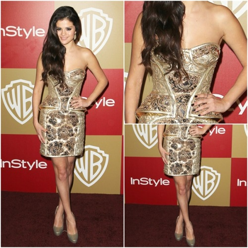 red carpet OUTFIT OF MONTH: January ♥ ‏ Selena wears: Versace Atelier Spring 2012 Couture Bustier Dress Jimmy Choo Cosmic Platform Pumps