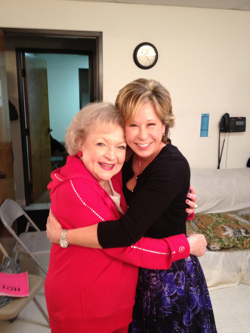Lisa Simpson (Yeardley Smith) & Betty White. Yeardley Smith has a tumblr you guys.