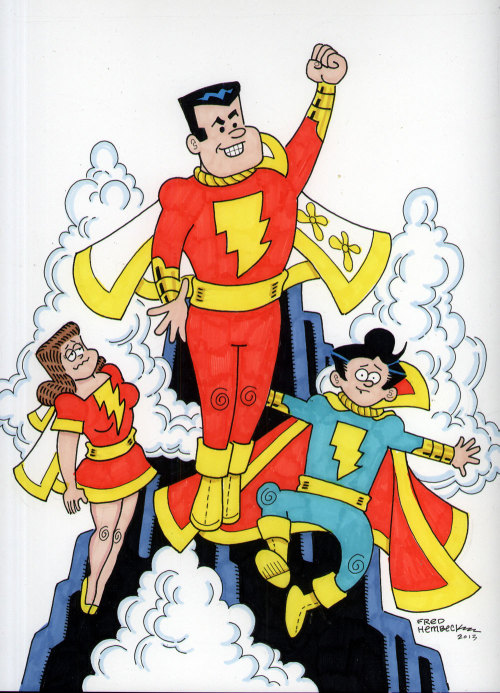Marvel Family color illustration by Fred Hembeck, currently up for sale on eBay!
