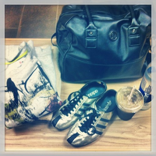 Zumba gear & refreshments #proenzaschouler sweatshirt + #Adidas #sneakers + #Lulelemon bag+ #greenjuice #gym #gymgear #health #workout
