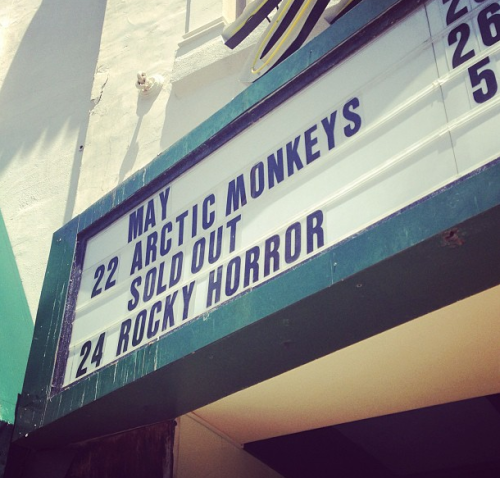 fuckyeaharcticmonkeys:  Arctic Monkeys at Ventura update: The show is completely sold out. If you're still planning on winging it, the venue just posted this notice that there will be no tickets available throughout the show, even if someone leaves. [photo: obsessee]