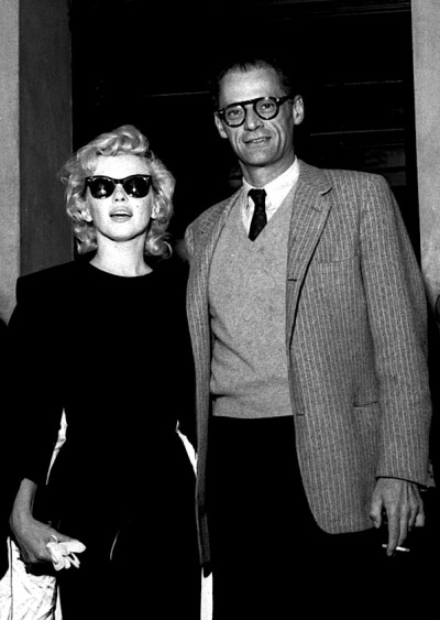 missingmarilyn:  Marilyn Monroe & then-husband Arthur Miller in England, 1956.