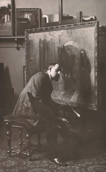 allesandersen:  Jakub Schikaneder in the studio at the School of Decorative Arts, (1905), Archive of the National Gallery in Prague. By Zikmund Reich. source  XX