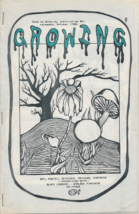 Growing #4, October 1988, W.V.C., Utah. Published by Duncan. Public Collectors recently received a very generous gift of sixty old, mostly photocopied 'zines from the collection of Dale Johnson of Bacon in the Beans 'zine. Dale was (and still is) part of this world in the late 1980s and early 90s when I was also doing an underground music/culture 'zine called Primary Concern. His donation fills some nice gaps in my own collection from this period. You can find Bacon in the Beans at: PO Box 4912, Thousand Oaks, CA 91359.