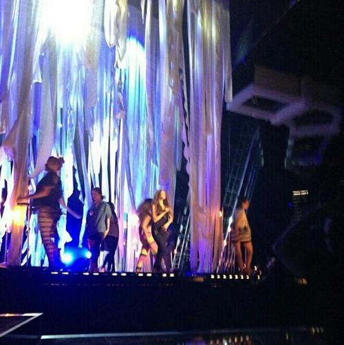 Selena rehearsing for her Billboard Music Awards performance.