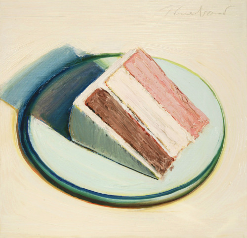 blastedheath:  Wayne Thiebaud (American, b. 1920), Cake Slice, 1979. Oil on wood panel, 11 x 11 1/4 in.