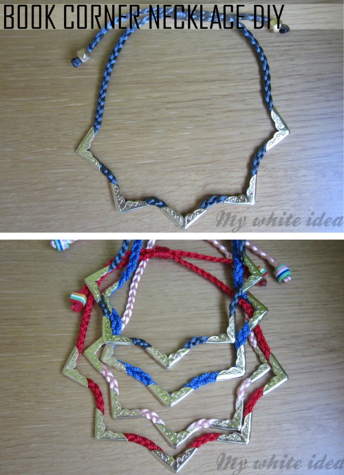 truebluemeandyou:  DIY Braided Cord Book Corner Necklace Tutorial from My White Idea here. You can buy cheap book corners in lots of finishes and patterns at crafts stores and on Etsy here.