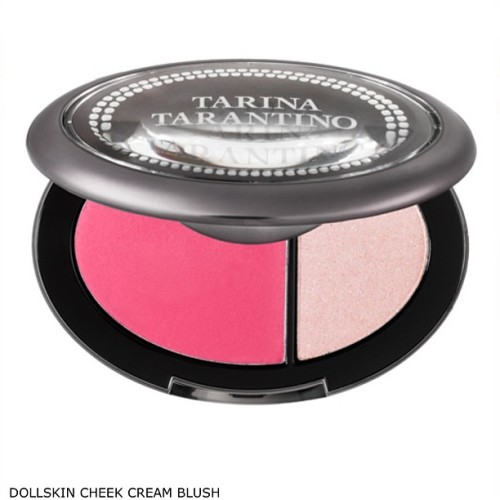 For #instantpretty Dollskin cheek cream blush & sparklicity duo. Blend over the apple & cheekbone then lightly finish with pressed sparklicity. I love cream blush but needed a long lasting, highly pigmented formula that blended without streaking, so I made my own! All packaged in a beautiful vanity compact. #dollskincheek #tarinatarantino #tarinatarantinobeauty #blush #makeup #sparklicity