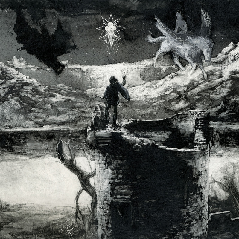 MANFRED  CONJURING  THE  SPIRITS  (Central panel) Santiago Caruso / Ink & scratching over paper / 74 cm x 26, 3 cm / 2012