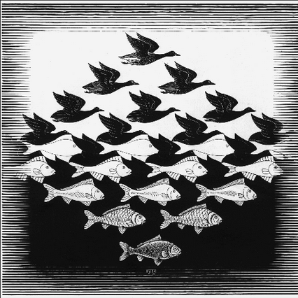 """Air and Water I""M.C. Escher This piece demonstrates the gestalt principle of figure/ground. In the top half of this image, the figures are black on a white ground while the bottom half shows the opposite where the figures are white on a black ground. While Escher subtly morphs the shapes until they reach their final form of either a bird or a fish, Escher also chooses to include more and more detail as the forms progress to make the transformation even more apparent. The transformation is also able to be seen and recognized in relationship to the amount of ground space surrounding each figure. There is little ground for either the black or white figures near the center of the image but as you move to the extremes again, the figure becomes the sole figure on a large amount of space which is the ground."