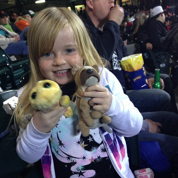 Erin & her friends. Cargo, the dog, has been to ever ballpark that we have visited. #attpark (at AT&T Park)