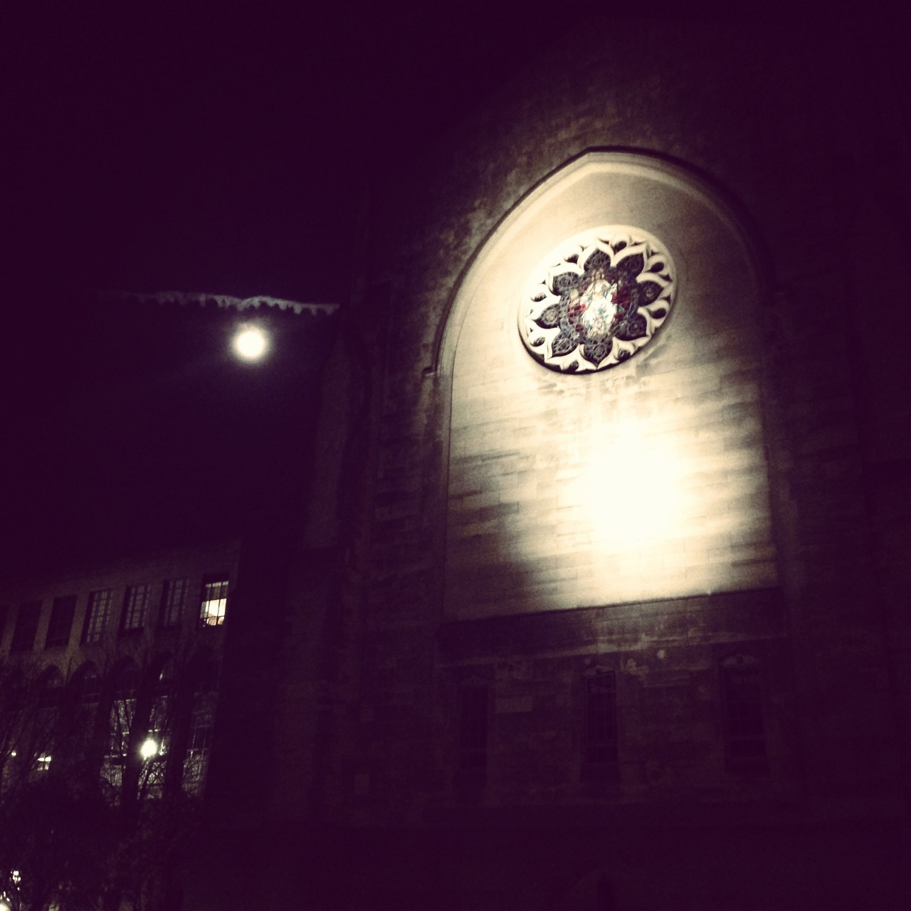 Chapel and moon lookin' spooky
