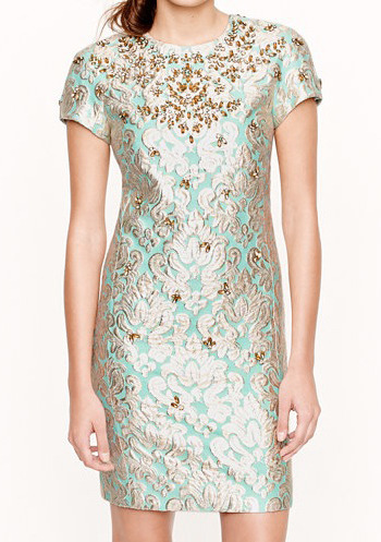 [Jeweled Gilded Brocade Dress by J. Crew]
