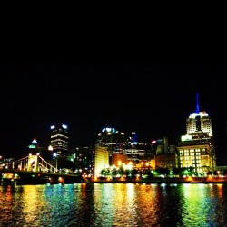 Great night in Pittsburgh!…busy day tomorrow; time to sleep :) #pittsburgh #downtown #river #night (at Roberto Clemente Bridge)