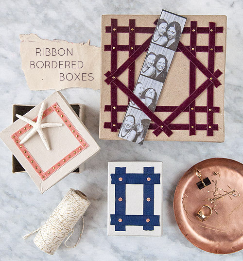 DIY Ribbon Bordered Boxes Tutorial from Design Sponge here. Photo by Maxwell Tielman.