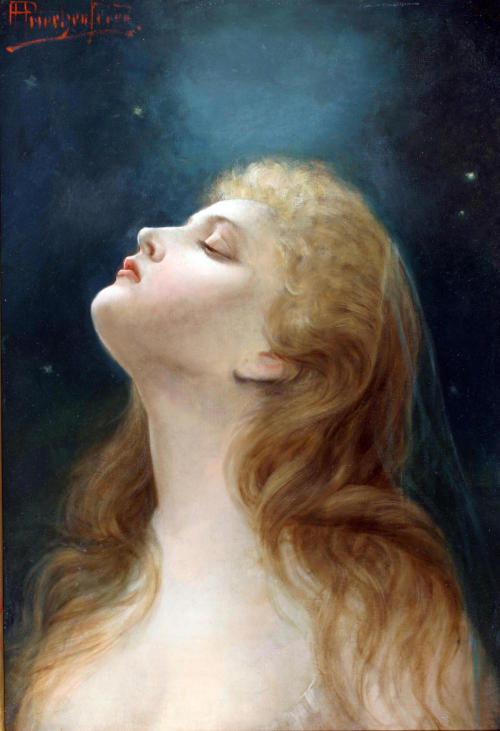 msmandrake:  A profile of a woman looking at the stars. Alois Heinrich Priechenfried (Austrian, 1867-1953).