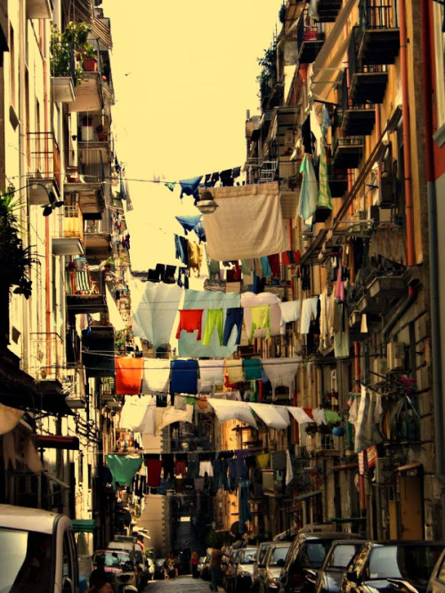 Napoli, Italy a picture that i really like (although tumblr decreases its quality)… looks like they do it on purpose, for tourists to wonder :)