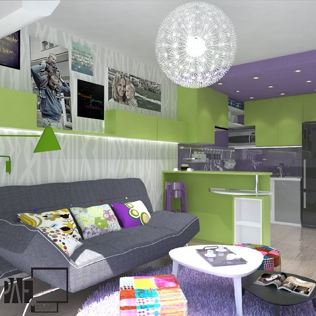 Green And Purple Living Room Apartment Zagreb Sneek Peak Latest Project