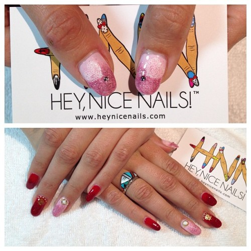 Valentine's Day #nailart for @cynsia using #azature black diamond polish in red and pink faded over #tomford carnal red. Complete with #doily #nailgrafx on the thumbs! 💖