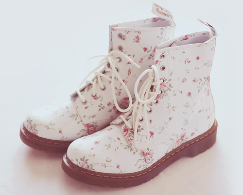 boots cute shoes floral style