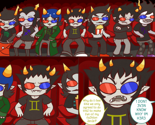 aviarei:  Sollux and Co. go to a 3D Movie