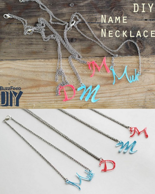 DIY Shrink Plastic Initial and Name Necklaces Tutorial from Lana Red for Buzzfeed. For other shrink plastic DIYs go here: unicornhatparty.com/tagged/shrink-plastic