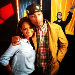 Welcome back to @Pharrell @howuseeit's our advisor of #TheVoice #TeamUsher! Tune in tonight to see him on the show again!