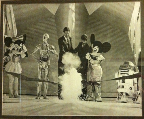 This is a photo of a photo in a Disneyland display that shows the opening of Star Tours at Disneyland. Could Minnie be more adorable?