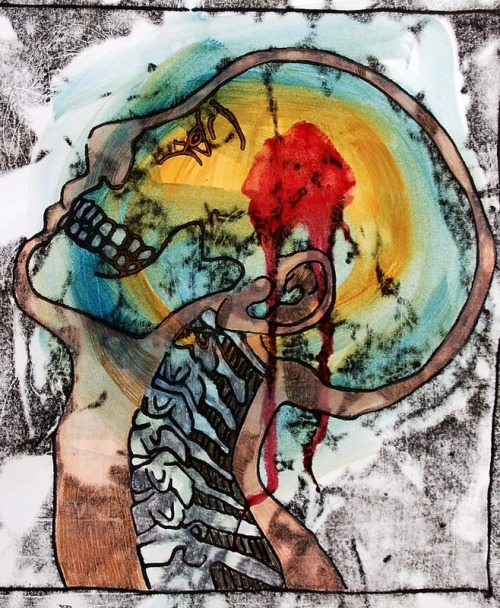 2headedsnake:  Christina Dervin Monoprint