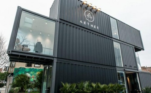 Aether's New San Francisco Store Takes Shipping Container Architecture to New Heights Taz Loomans, inhabitat.com High-end clothing store Aether Apparel just launched its first standalone retail shop in San Francisco – and it's made from three recycled shipping containers stacked one atop another! The sophisticated building is the latest addition to PROXY, a…