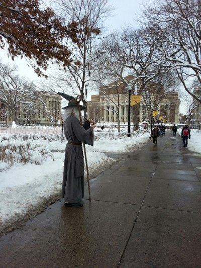 "enhasa:  True story: Gandalf appears at University of Minnesota during exams, going around telling people ominously ""You shall not pass.""  That's Mike, he lives in my building. Sometimes he dresses up as Link"