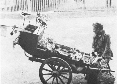 Toy Seller, king William Street, London, 1884 A lovely photograph of a street hawker selling toys from a wooden barrow in the 1880's. Victorian town and city streets were full of such characters selling everything from music, baked potatoes, oysters, matches, fruit and vegetables to offering services such as fixing furniture and sharpening knives.