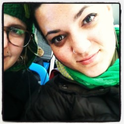 On our way to the #green #river. #chicago #downtown #stpatricksday #girlfriends #lebians #lgbt