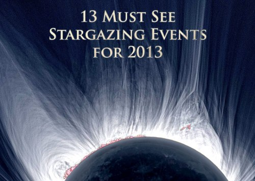 "13 Must See Stargazing Events for 2013— Listed In Chronological Order 1) January 21 — Very Close Moon/Jupiter ConjunctionA waxing gibbous moon (78% illuminated) will pass within less than a degree to the south of Jupiter high in the evening sky. Your closed fist held out at arms length covers 10 degrees. These two wont get that close again until 2026.2) February 2-23 — Best Evening View of MercuryThe planet Mercury will be far enough away from the glare of the Sun to be visible in the Western sky after sunset. It will be at its brightest on the 16th and dim quickly afterwards. On the 8th it will skim by the much dimmer planet Mars by about 0.4 degrees.3) March 10-24 — Comet PANSTARRS at its bestFirst discovered in 2011, this comet should be coming back around for about 2 weeks. It will be visible low in the northwest sky after sunset. Here are some sources predicting what the comets may look like in the sky; 1 - http://bit.ly/Trh0wM2 - http://bit.ly/WebniW4) April 25 — Partial Lunar EclipseA very minor, partial lunar eclipse (not visible in North America) where only about 2 percent of the moon's diameter will be inside the dark shadow of the Earth.5) May 9 — Annular Eclipse of the Sun (""Ring of Fire"" Eclipse)It will be visible in Northern Australia and parts of Papua New Guinea but mostly within the Pacific Ocean. See all the solar eclipse paths for 2001-2020 here.http://1.usa.gov/YCwkFI6) May 24-30 — Dance of the PlanetsMercury, Venus and Jupiter will seemingly dance between each other in the twilight sky just after sunset as they will change their positions from one evening to the next. Venus will be the brightest of all, six times brighter than Jupiter.7) June 23 — Biggest Full Moon of 2013It will be the biggest full moon because the moon will be the closest to the Earth at this time making it a 'supermoon' and the tides will be affected as well creating exceptionally high and low tides for the next few days.8) August 12 — Perseid Meteor ShowerOne of the best and most reliable meteor showers of the year producing upwards of 90 meteors per hour provided the sky is dark. This year the moon won't be in the way as much as it will set during the evening leaving the rest of the night dark. Here is a useful dark-sky finder tool. - http://bit.ly/UdcDUY9) October 18 — Penumbral Eclipse of the MoonVisible mostly in Asia, Europe and Africa, at this time the 76% of the moon will be covered by the penumbral shadow of the Earth.10) November 3 — Hybrid Eclipse of the SunA Hybrid Eclipse meaning, along its path, the eclipse will turn from Annular to Total and in this case most of the path will appear to be Total as there will be a slight ring of sunlight visible near the beginning of the track. This one will begin in the Atlantic (near the East Coast of the U.S.) and travel through Africa. The greatest eclipse (with 100 seconds of totality) will appear in Liberia, near the West Coast of Africa.Eclipse Path - http://1.usa.gov/VrJggj11) Mid-November through December — Comet ISONThe second comet this year, ISON, could potentially be visible in broad daylight as it reaches its closest point to the Sun. It will reach that point on November 28 and it is close enough to the Sun to be categorized as a 'Sungrazer'. Afterwards it will travel towards Earth (passing by within 40 million miles) a month later.12) All of December — Dazzling VenusThe brightest planet of them all will shine a few hours after sundown in the Southwestern sky and for about 1.5 hours approaching New Years Eve. Around December 5th, a crescent moon will pass above the planet and the next night Venus will be at its brightest and wont be again until 2021.13) December 13-14 — Geminid Meteor ShowerThis is another great (if not the best) annual meteor shower. This year put on a show at about 120 meteors per hour and in 2013 it won't be much different so expect another fantastic show. However, the moon - as it is a few days before full phase - will be in the way for most of the night obscuring some of the fainter meteors. You might have to stay up in the early morning hours (4am) to catch the all the meteors it has to offer. If you missed 2012's Geminid Meteor Shower, here are some great photo-sets;1 - http://bit.ly/UJrbc32 - http://bit.ly/RoWGfQ3 - http://bit.ly/UCADCQ"