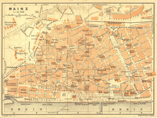 Mainz Germany 1925 City Plan, Street Map at CarambasVintage http://etsy.me/VzxvKF