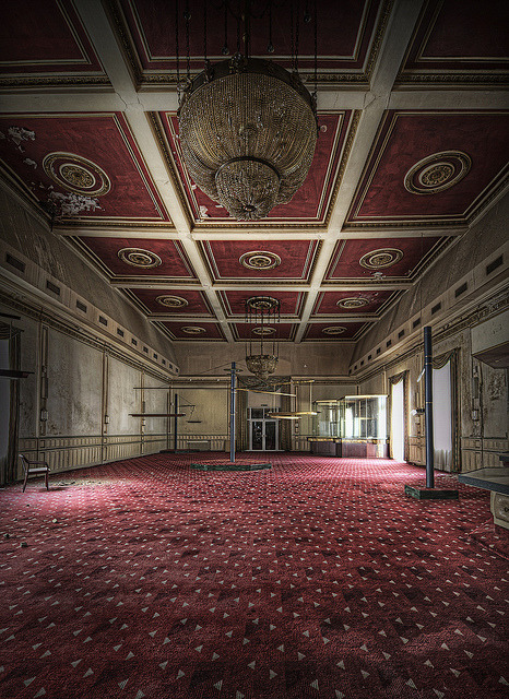 odditiesoflife:  The Real Abandoned Overlook Hotel Unlike the fictional Overlook Hotel in Stanley Kubrick's The Shining, this hotel is really named the Overlook. The abandoned hotel is located in the small, wine growing town of Bernkastel-Kues in Germany. Other than it has been unoccupied for about 13 years, there is no information as to why the hotel was closed. All of the furniture remains and it looks as if everyone there simply left. There are rumors that the hotel is haunted. According to urban explorers who frequent the spooky site, cameras malfunction, sounds can be heard throughout the premises and items seem to move around the hotel by themselves.