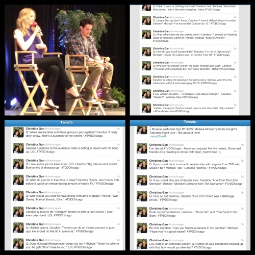 amykinz13:  Candice Accola and Michael Trevino Q&A from TVD Chicago Convention (Found the pic and tweets on twitter, I do not own them)