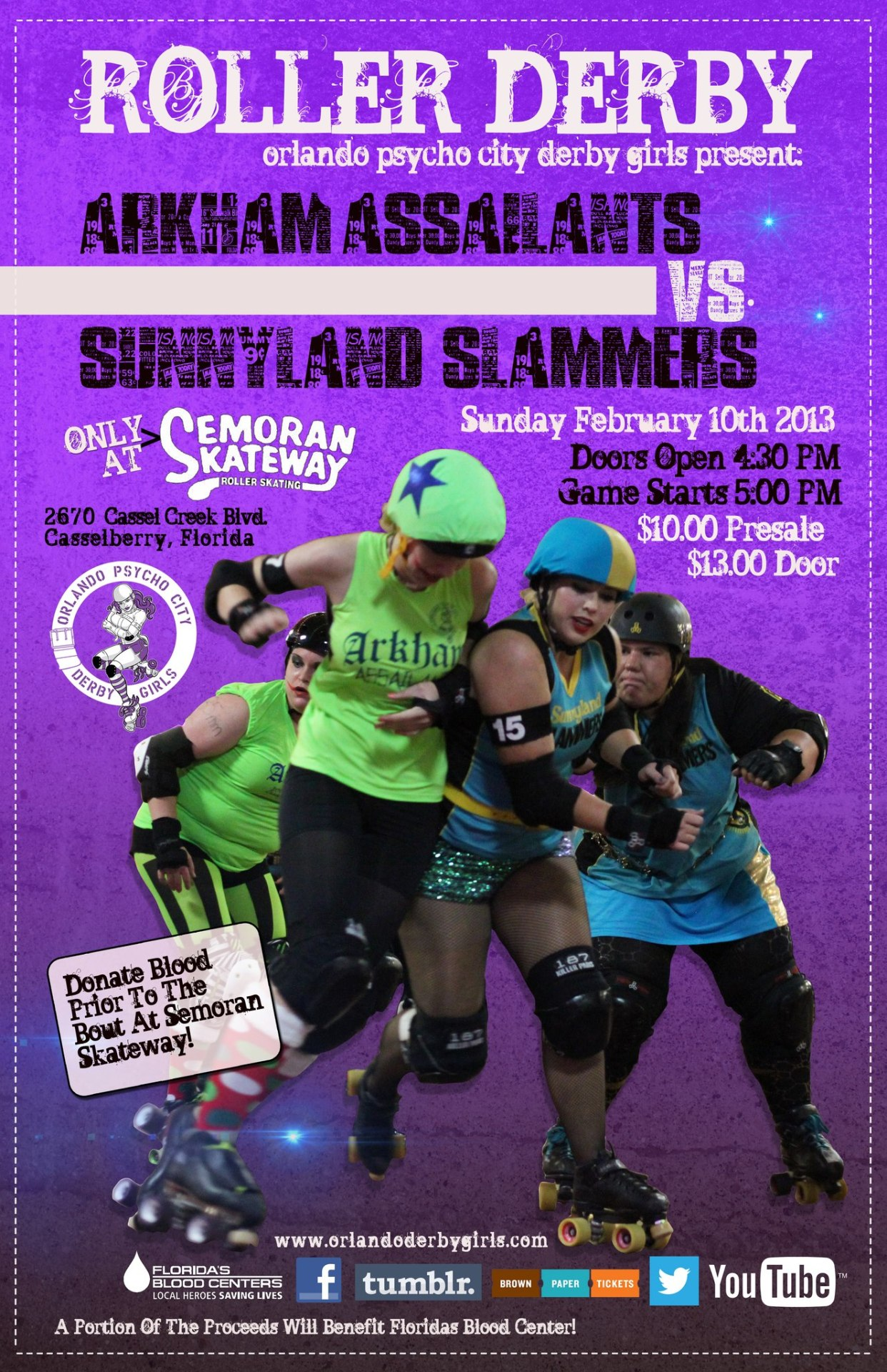 psychocityderbygirls:  Arkham Assailants vs. Sunnyland Slammers on Sunday!  Today's bout day!!!