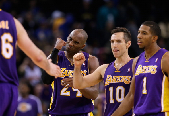 Pic: Kobe's face says it all… Welcome back, Steve Nash!