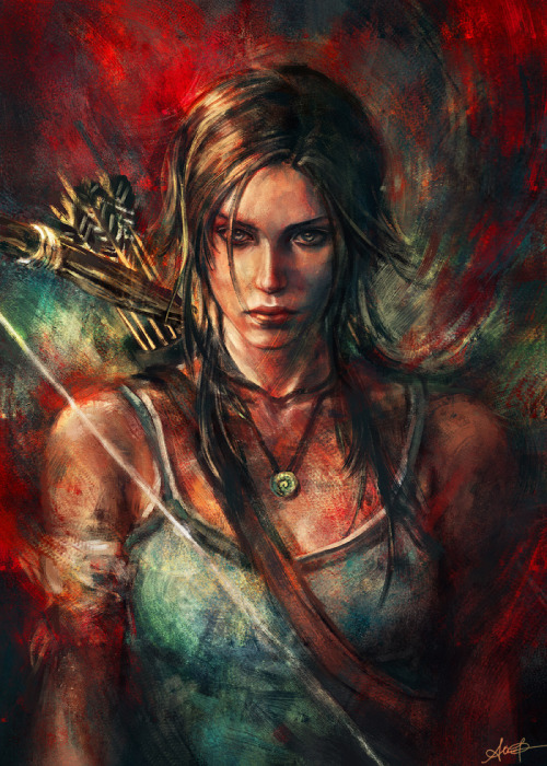 """Rebirth""  My entry for deviantART's Tomb Raider contest! Painted in Adobe Photoshop in about a zillion hours. You can view it larger here!"