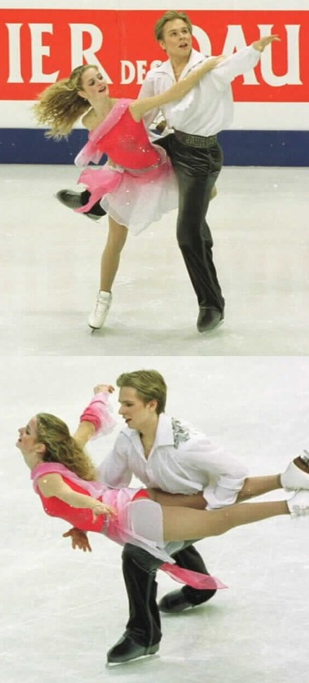 Jessica Huot and Juha Valkama's free dance costumes at the 2002 European Championships. Their music was Chopin's Fantaisie-Impromptu. Photos by Barry Mittan. 1 and 2.
