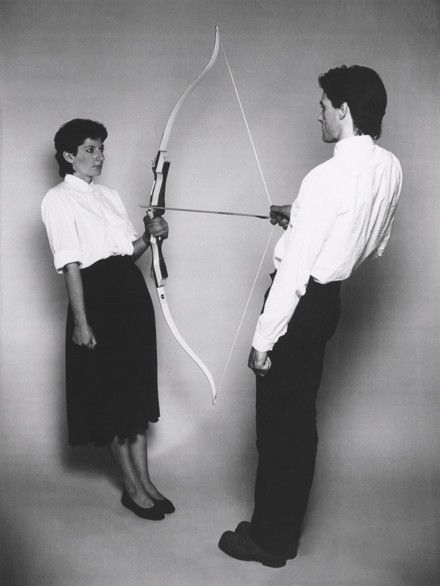 thehighwontfadehere:  Marina Abramović and Ulay in Rest Energy (1980)