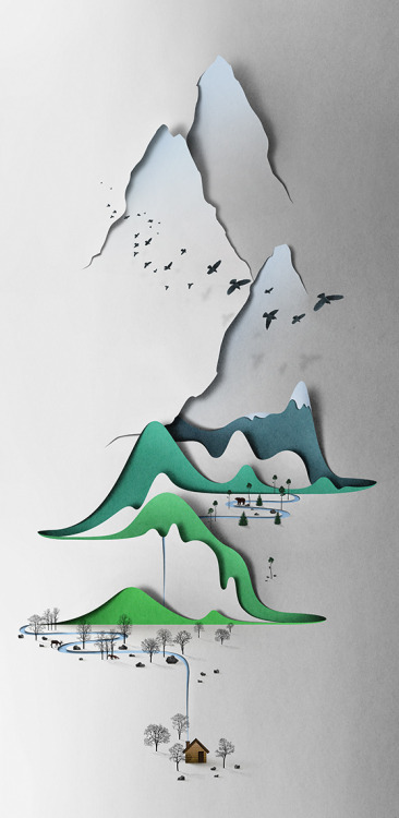 Vertical Landscape cut paper illustration of mountains by Estonian artist Eiko Ojala